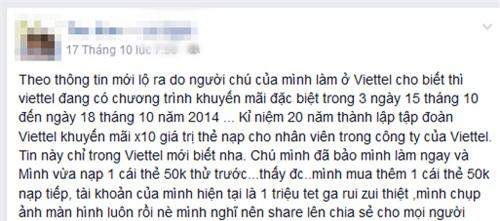 """Dạng tin nhắn lừa đảo mạo danh """"ông chú Viettel"""" trên mạng xã hội"""
